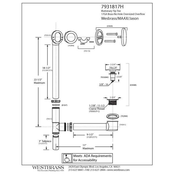 D3261K-62 Westbrass 22-1//2 All Exposed 17 Gauge Brass Tip-Toe Drain Bath Waste and Overflow with 2-Hole Faceplate Matte Black