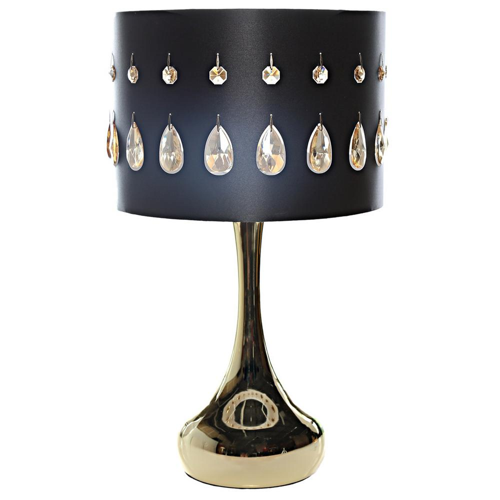 Black Indoor Table Lamp With Champagne Colored Jewels