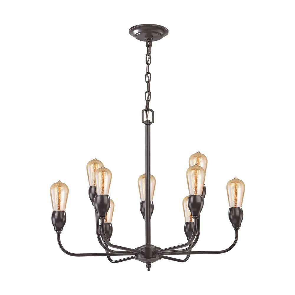 Titan lighting vernon 9 light oil rubbed bronze chandelier