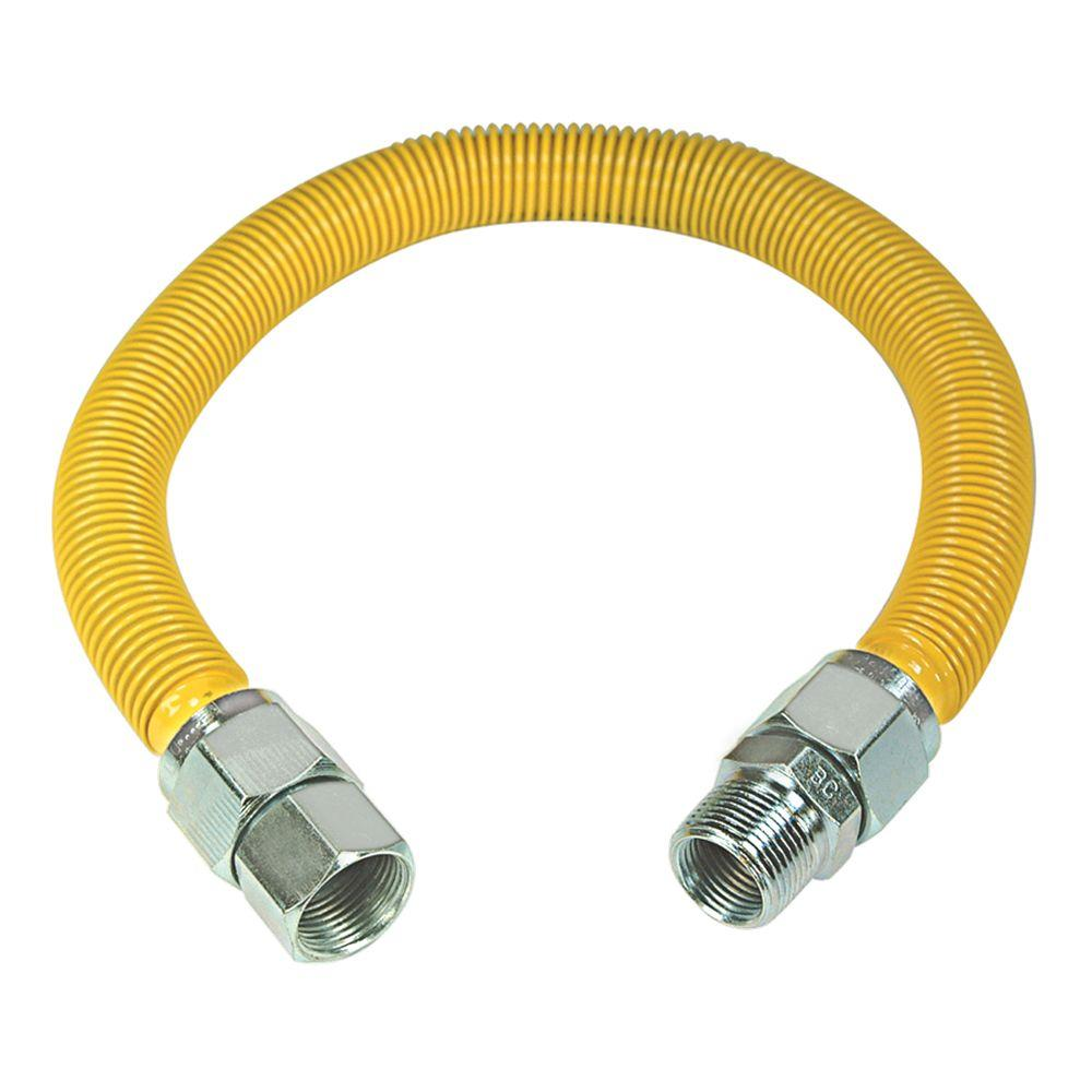 Flextron FTGC-BC38-24G 24 Flexible Epoxy Coated Gas Line Connector with 1//2 Outer Diameter and 3//8 Mip x 3//8 Mip Fittings Black//Stainless Steel