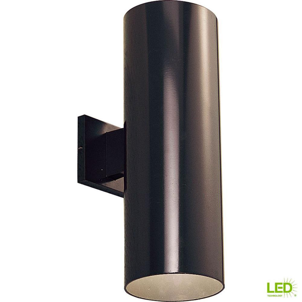 Progress Lighting 2-Light Antique Bronze Integrated LED 18 in. Outdoor Wall Mount Cylinder Light