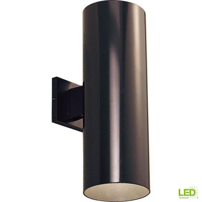 2-Light Antique Bronze Integrated LED 18 in. Outdoor Wall Mount Cylinder Light