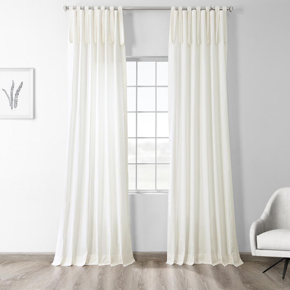 Fresh Popcorn Ivory Room Darkening Solid Cotton Tie-Top Curtain - 50 in. W x 84 in. L