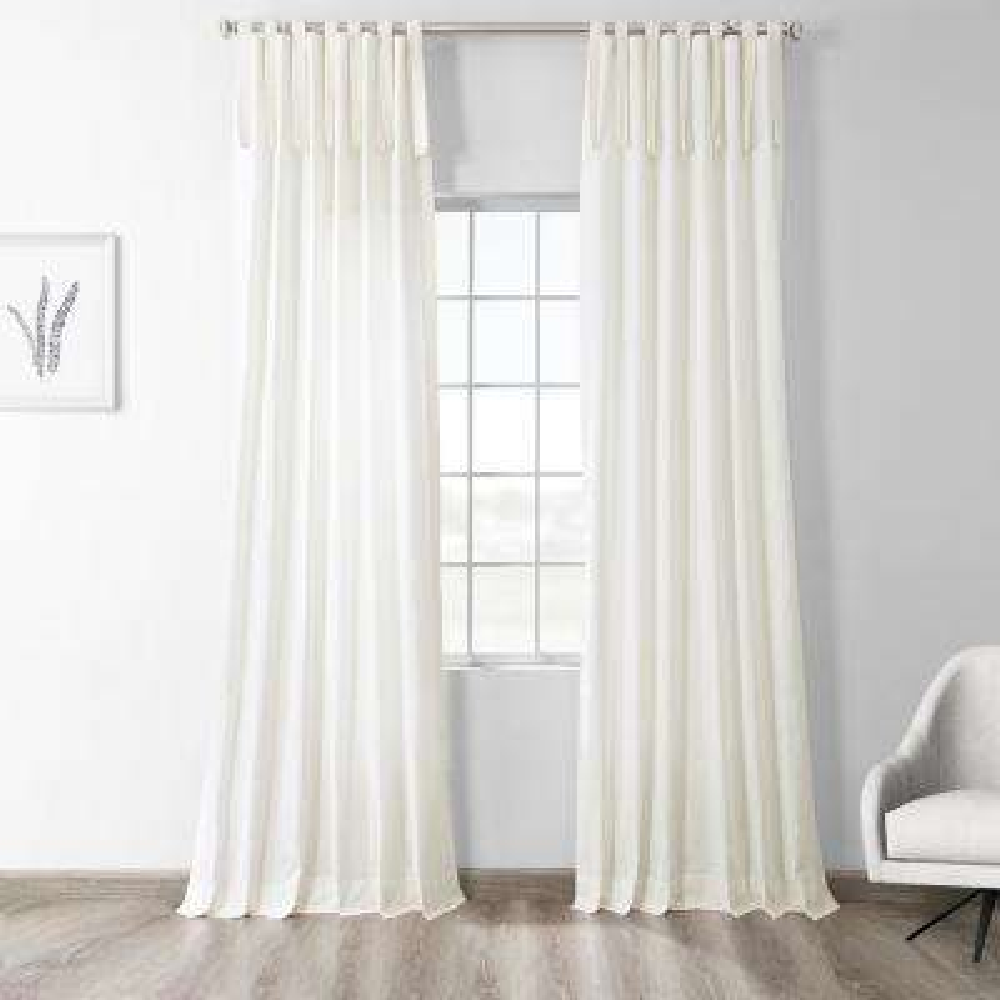 Fresh Popcorn Ivory Room Darkening Solid Cotton Tie-Top Curtain - 50 in. W x 96 in. L