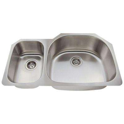Undermount Stainless Steel 35 in. Double Bowl Kitchen Sink