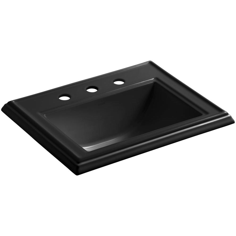 Memoirs Drop-In Vitreous China Bathroom Sink in Black Black with Overflow