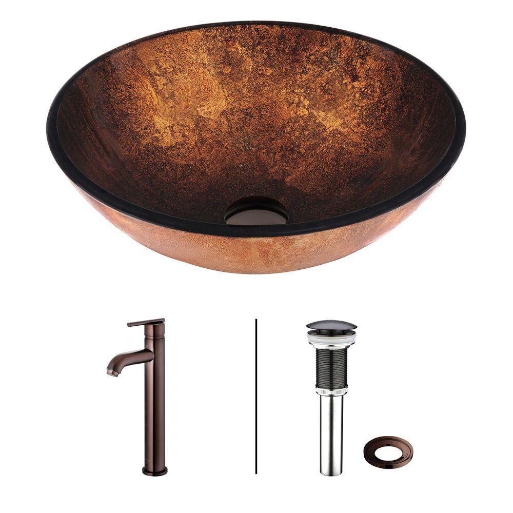 VIGO Vessel Sink in Russet with Faucet Set in Browns by VIGO