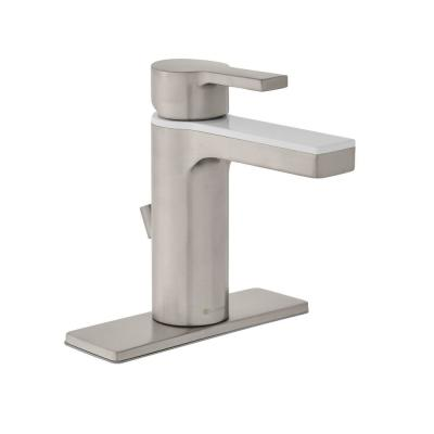 Modern Contemporary Single Hole Single-Handle Low-Arc Bathroom Faucet in Dual Finish Brushed Nickel and White