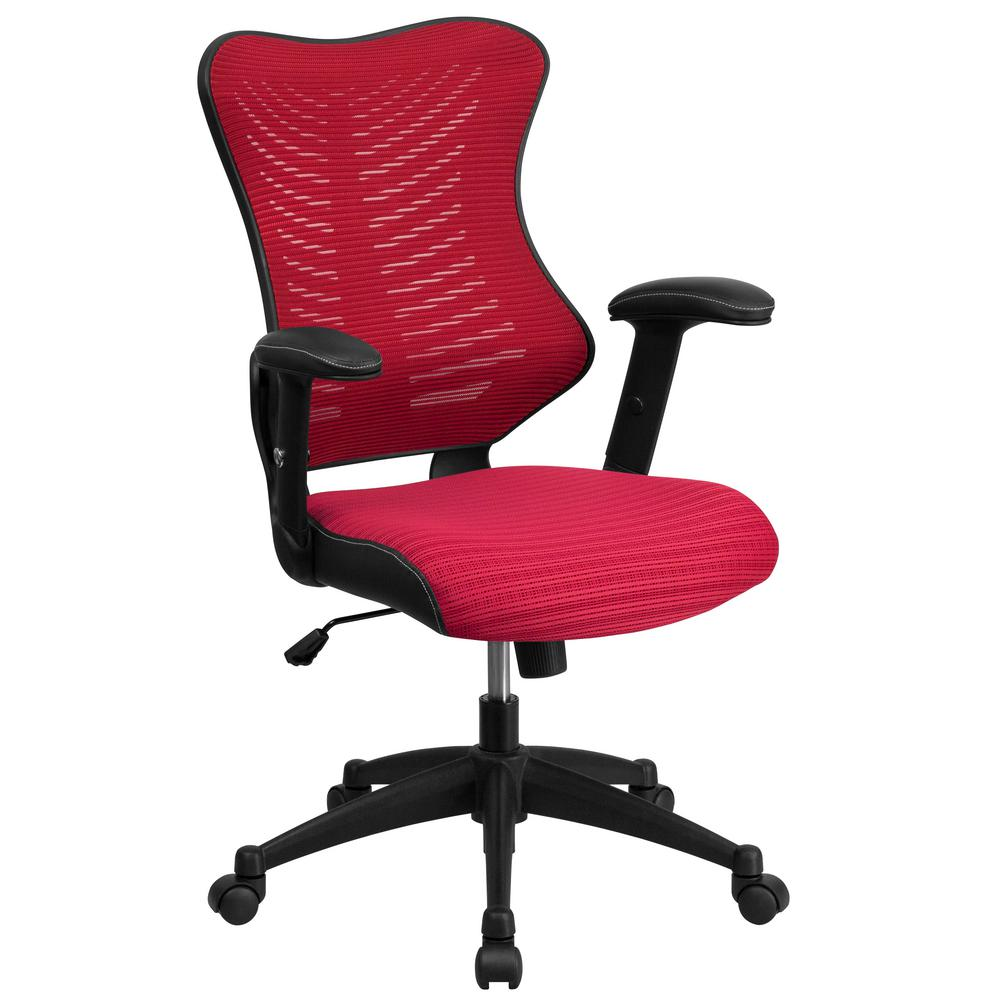 modway veer mesh office chair in red eei 825 red the home depot