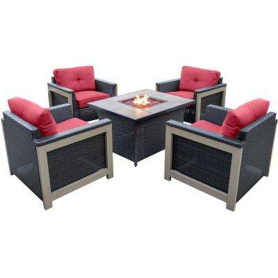 Montana 5-Piece Wicker Patio Fire Pit Conversation Set with Faux Wood Grain-Top Fire Pit with Autumn Berry Cushions