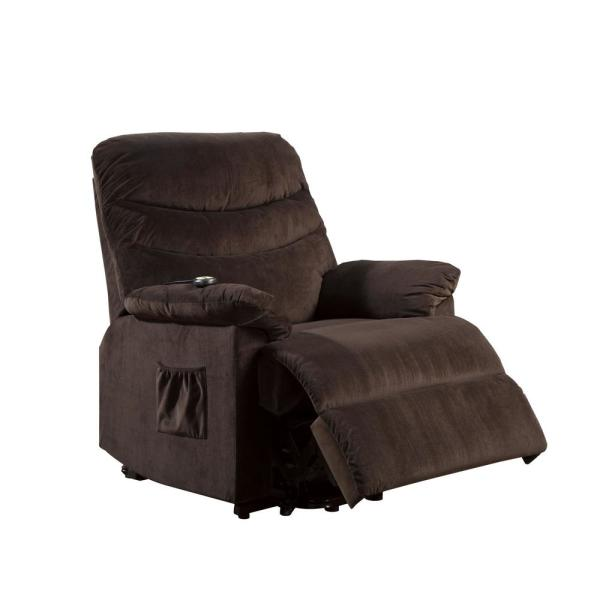 Furniture of America Merlin Cocoa Brown Side Pocket Stand Assist Recliner