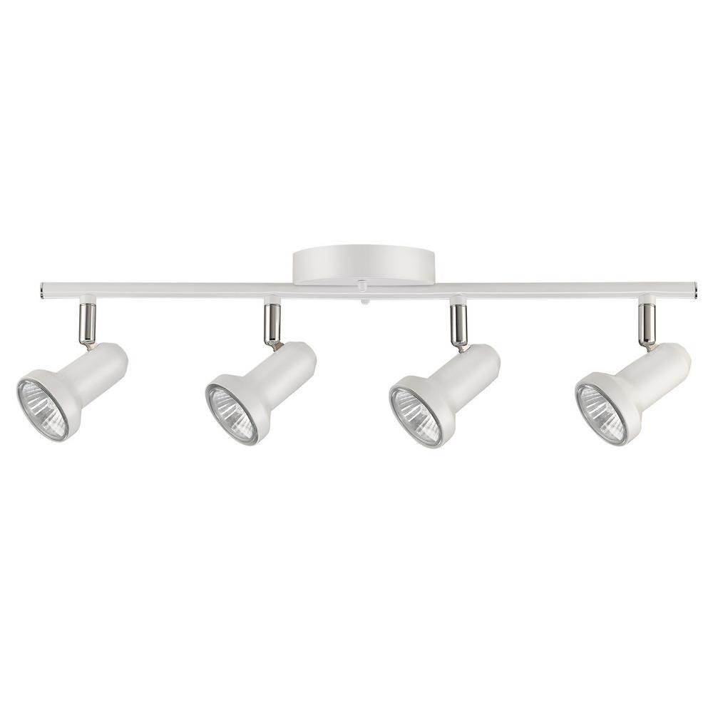 Melo 20.47 in. 4-Light Glossy White Track Lighting Kit, Bulbs Included
