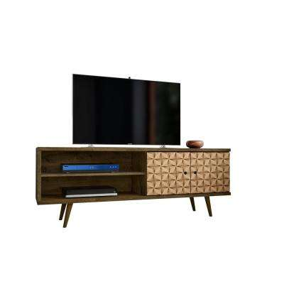 Liberty 62.99 in. Rustic Brown and 3D Brown Print 3-Shelf TV Stand