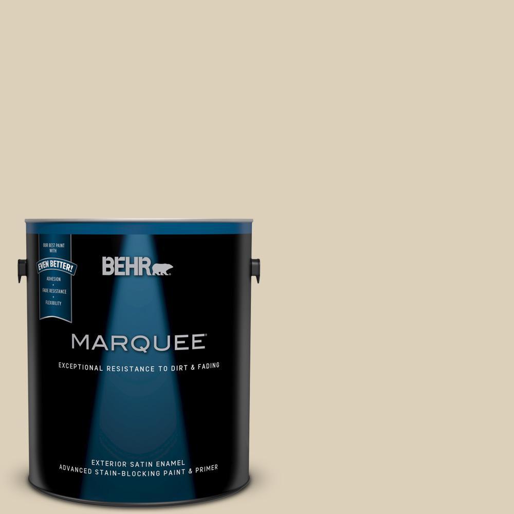 Behr Marquee 1 Gal Bwc 26 Stucco Tan Satin Enamel Exterior Paint