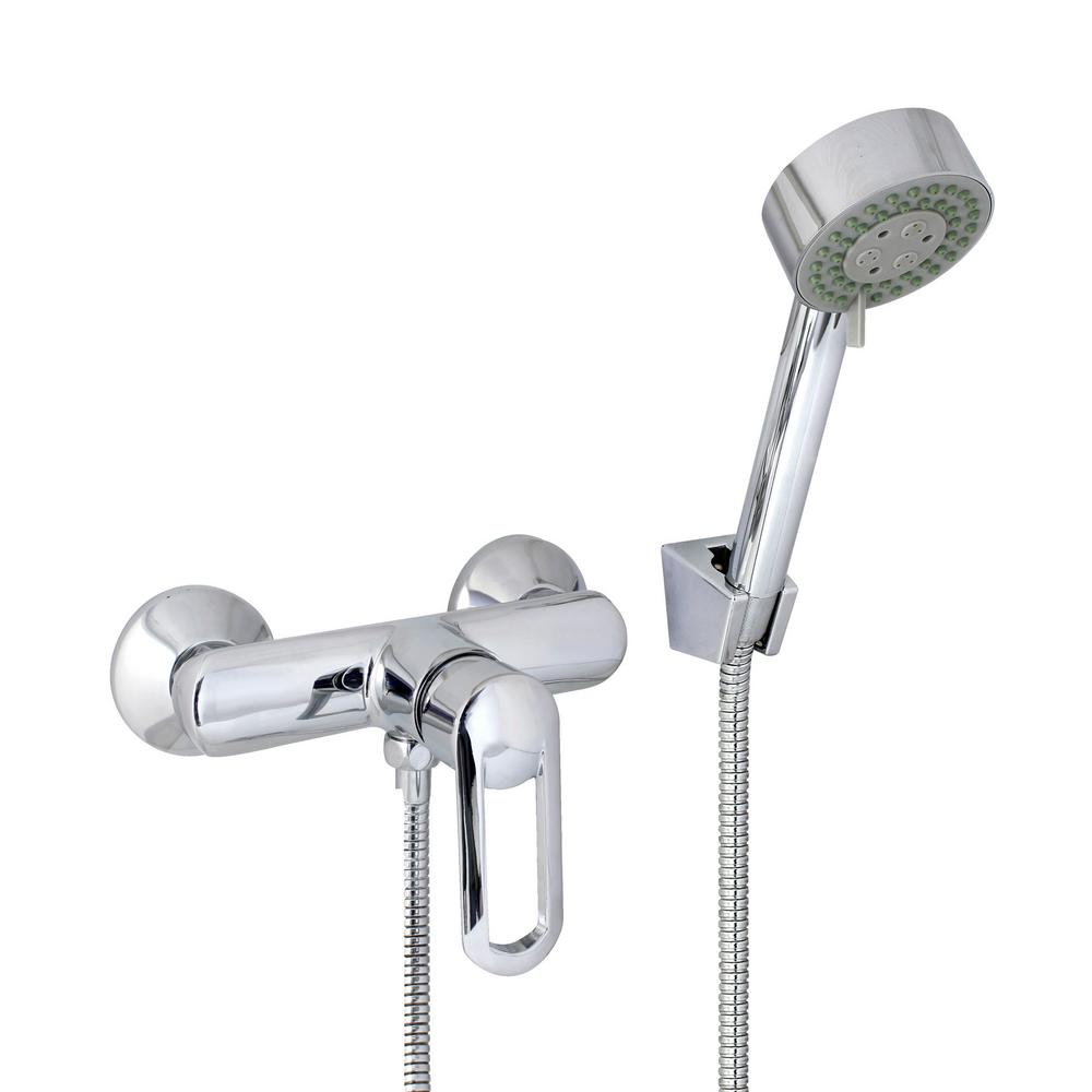 MODONA Oval 6 in. Single-Handle 3-Spray Shower Faucet with Massage Hand Held Shower in Polished Chrome (Valve Included)