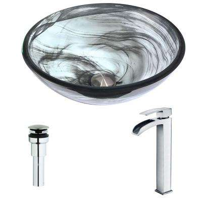 Mezzo Series Deco-Glass Vessel Sink in Slumber Wisp with Key Faucet in Polished Chrome