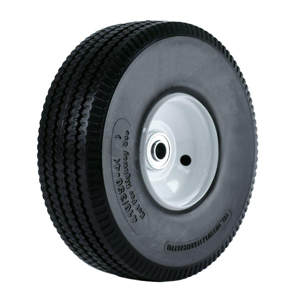 10 in. Flat Free Hand Truck Wheel 2-1/4 in. x 5/8 in. Offset Hub