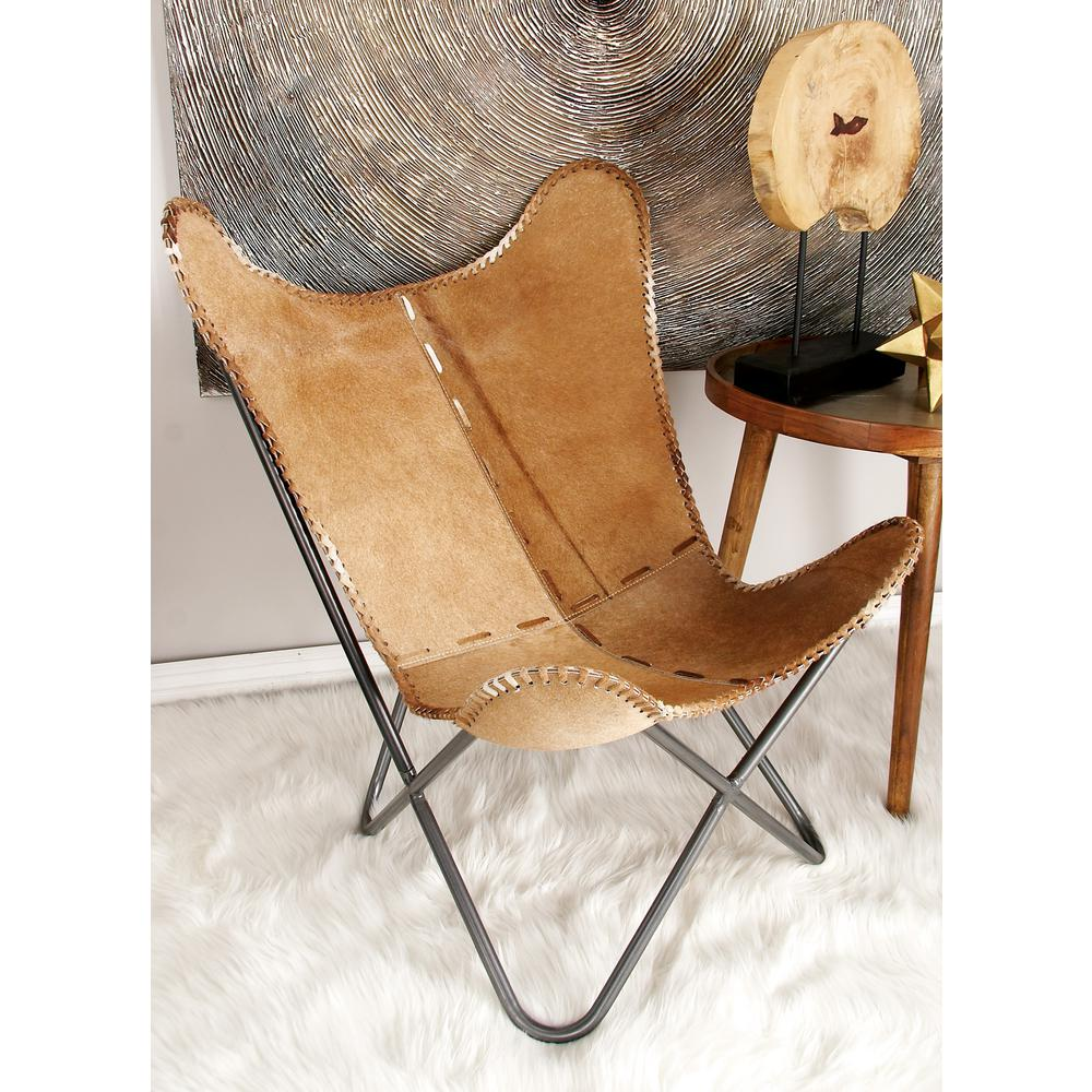 Litton Lane Light Brown Cowhide Chair W Silver Iron Scoop Chair