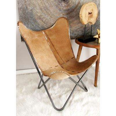 Light Brown Cowhide Chair w/ Silver Iron Scoop Chair Frame