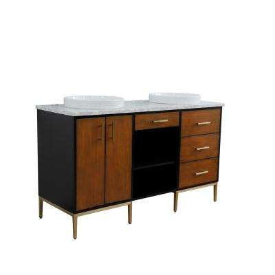 61 in. W x 22 in. D Double Bath Vanity in Walnut and Black with Marble Vanity Top in White with White Round Basins