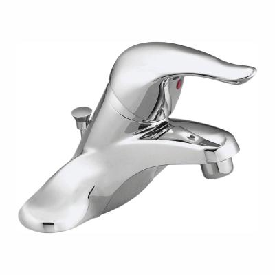Chateau 4 in. Centerset Single Handle Low-Arc Bathroom Faucet with Metal Drain Assembly, Red/Blue Under Spout in Chrome