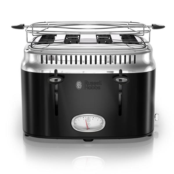 Russell Hobbs Retro Style 4-Slice Black and Stainless-Steel Toaster TR9250BKR