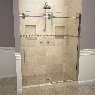 2800V Series 47 in. W x 76 in. H Semi-Frameless Roller Sliding Shower Door in Polished Chrome with Pull Handles