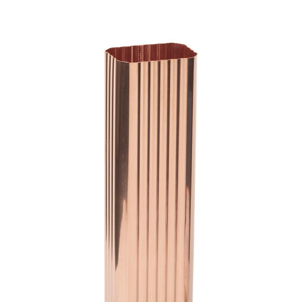 3 in. x 4 in. K-Style Square Copper Corrugated Downspout