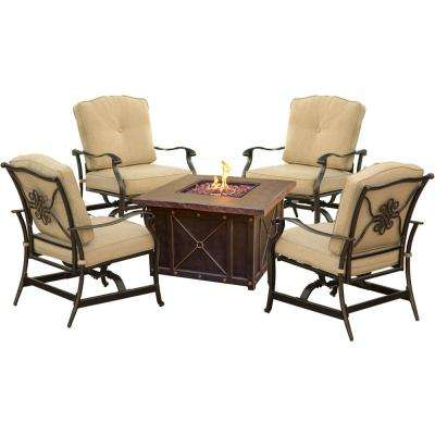 Bradford 5-Piece Durastone Fire Pit Conversation Set with Tan Cushions