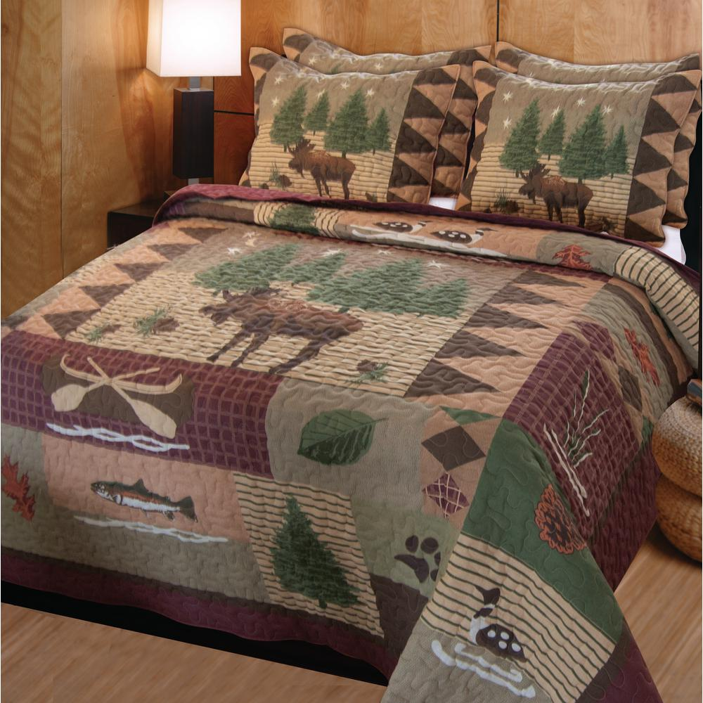 Greenland Home Fashions Moose Lodge 3-Piece Multi Full/Queen Quilt ...