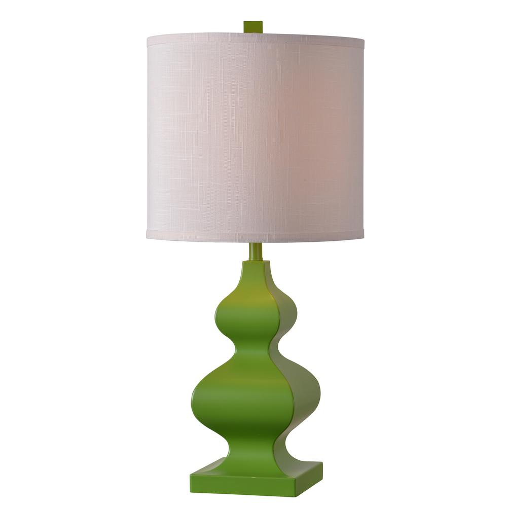 Kenroy home milton 26 in green table lamp with white shade green table lamp with white shade geotapseo Images