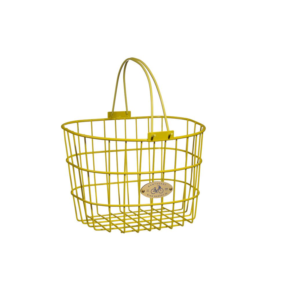 Nantucket Bicycle Basket Surfside Adult Wire D Shape Basket In Yellow