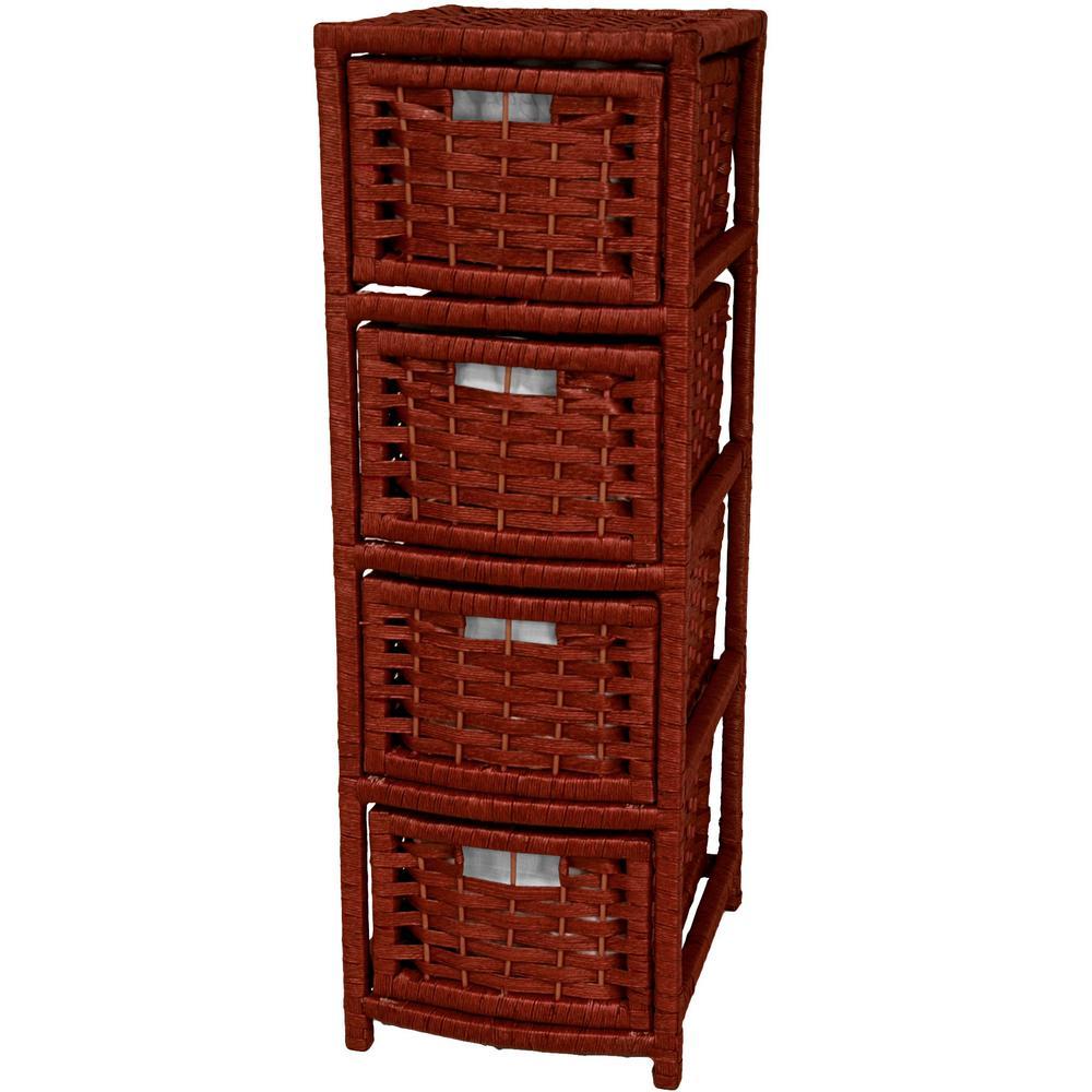 4-Drawer Mahogany Natural Fiber Occasional Storage Chest
