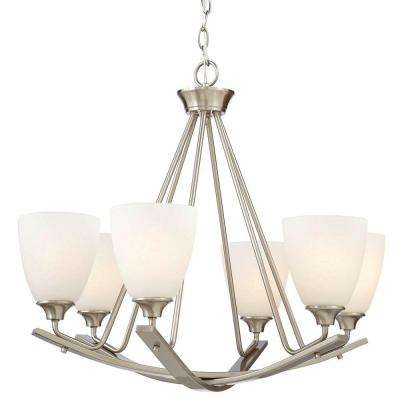 Stansbury Collection 6-Light Brushed Nickel Chandelier with Shade