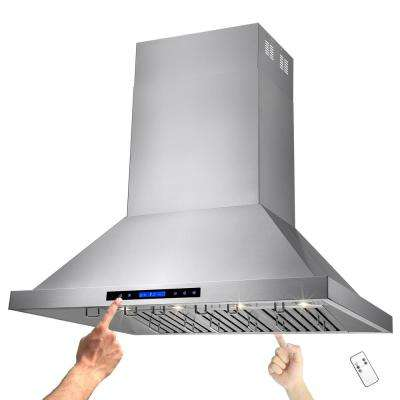 42 in. Kitchen Dual Motor Island Mount Range Hood in Stainless Steel with Remote and Touch Control Panel