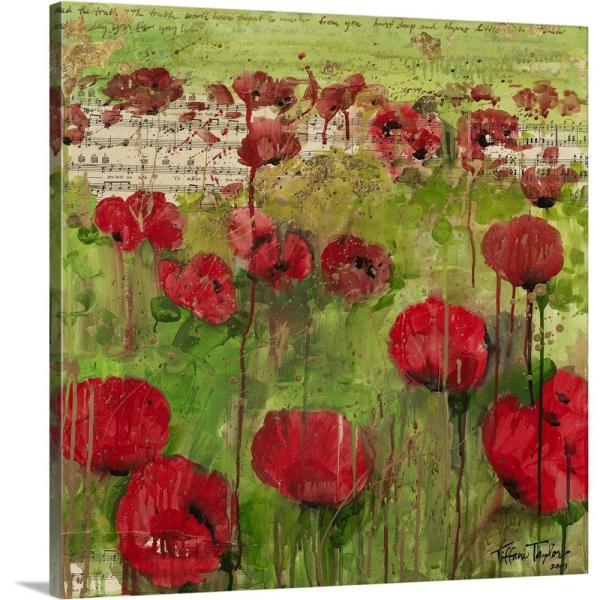 Red Poppies Sheet Music By Tiffani Taylor Canvas Wall Art
