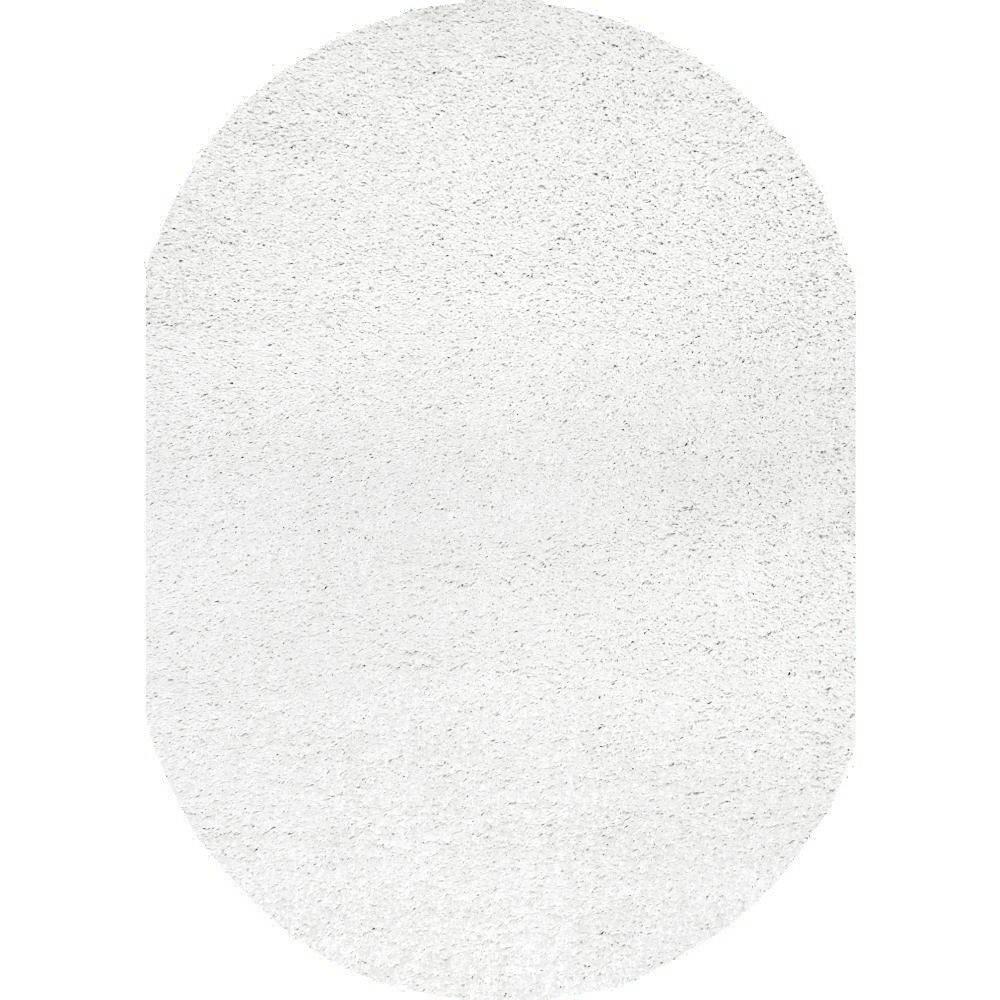Marleen Plush Shag White 8 ft. x 10 ft. Oval Rug