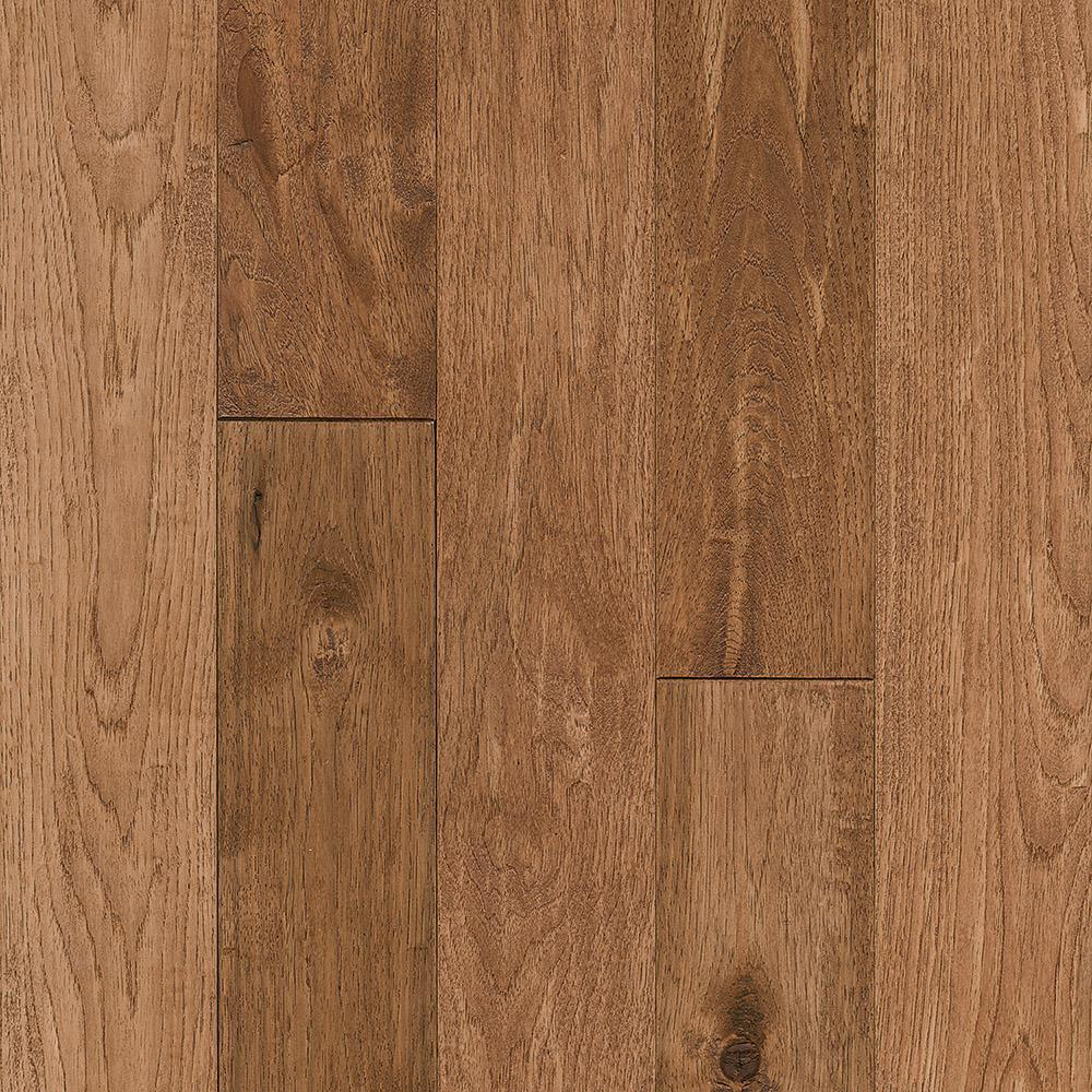 Revolutionary Rustics Take Home Sample Hickory Sculpted Rich Doeskin Solid Hardwood Flooring 5 In. X 7 In.