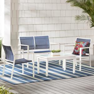 Deals on Hampton Bay Harmony Cove 4-Pc Steel Sling Patio Deep Seating Set
