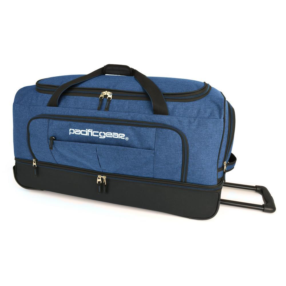 Keystone 30 in. Drop-Bottom Rolling Navy Duffel Bag
