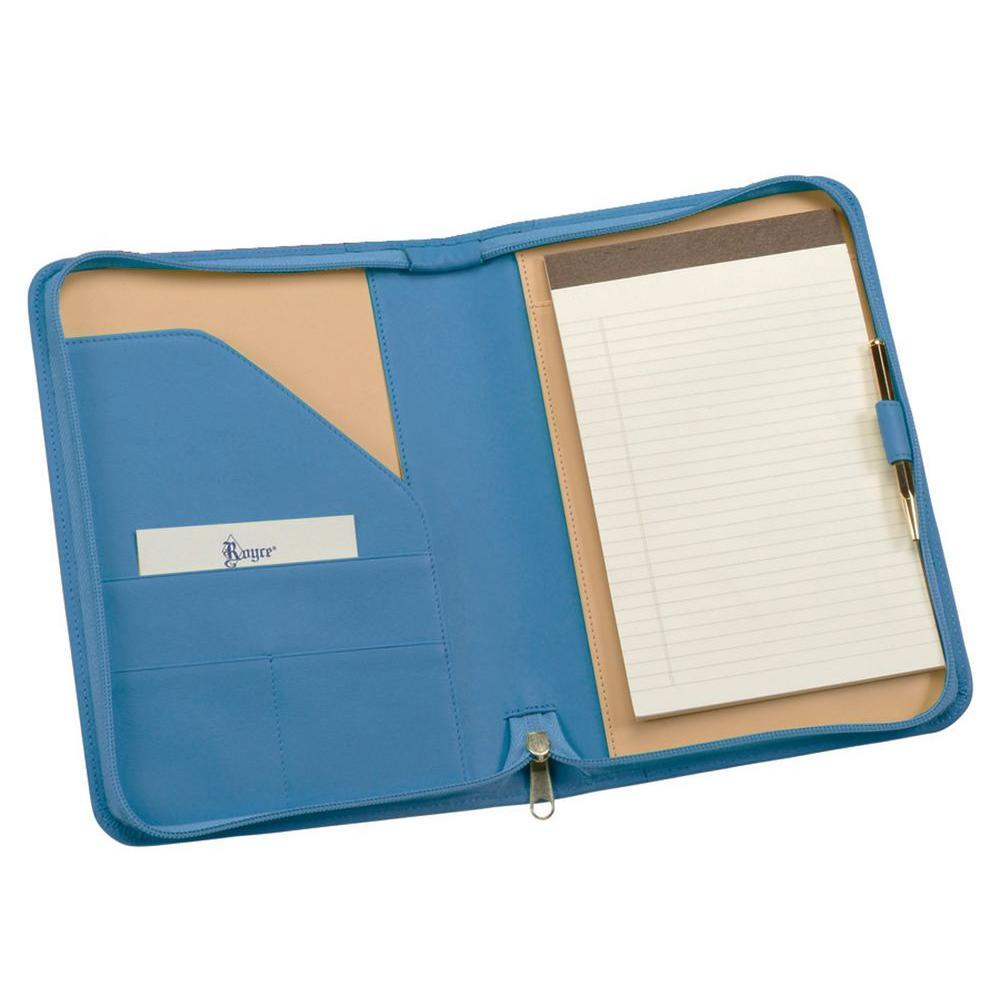 Genuine Leather Zippered Compact Writing Portfolio Organizer, Ocean Blue