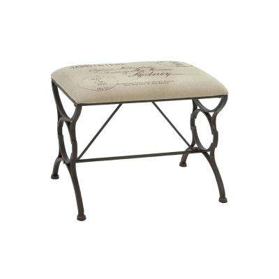 Black Footed Bench with Postal Printed Beige Cushioned Seat