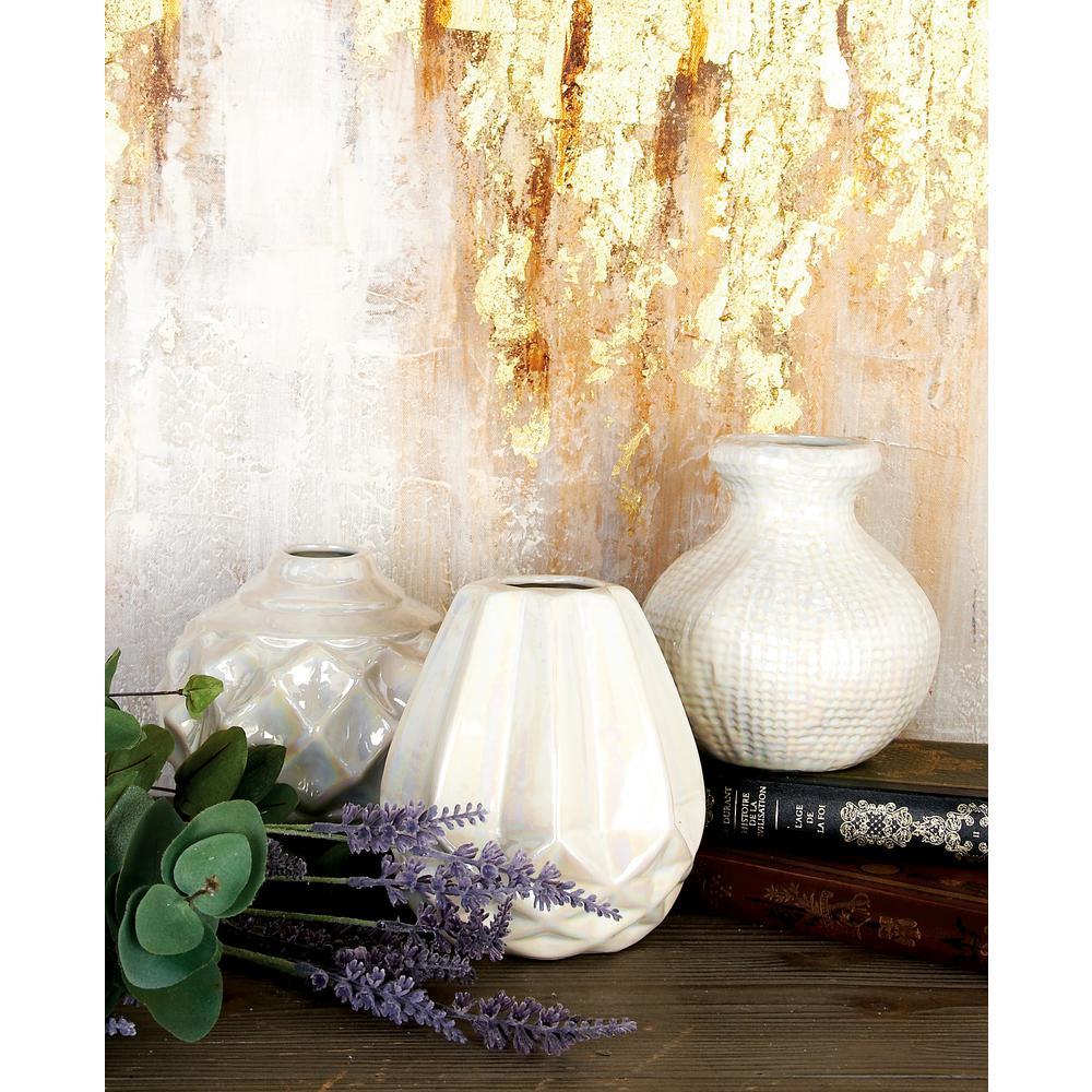 Pearlescent Ivory Ceramic Decorative Vases (Set of 3)