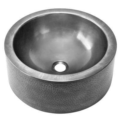 Hammerwerks Series Pewter 15 in. Round Vessel Sink with Apron Front in Pewter