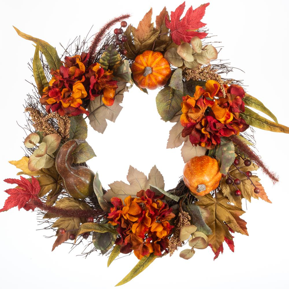 Home Accents Holiday 22 in. Hydrangea and Pumpkin Wreath