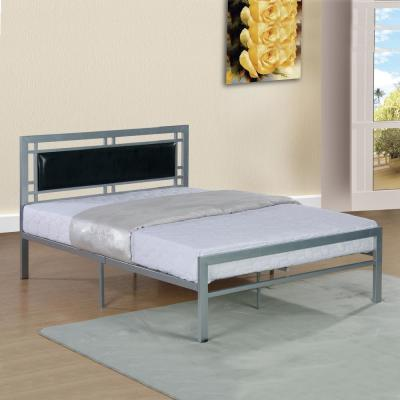 Home Source Raymond Silver twin-size Bed Frame with Black Faux Leather Headboard Panel
