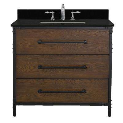 Grandburgh 37 in. W x 22 in. D Bath Vanity in Coffee Swirl with Granite Vanity Top in Black with White Sink