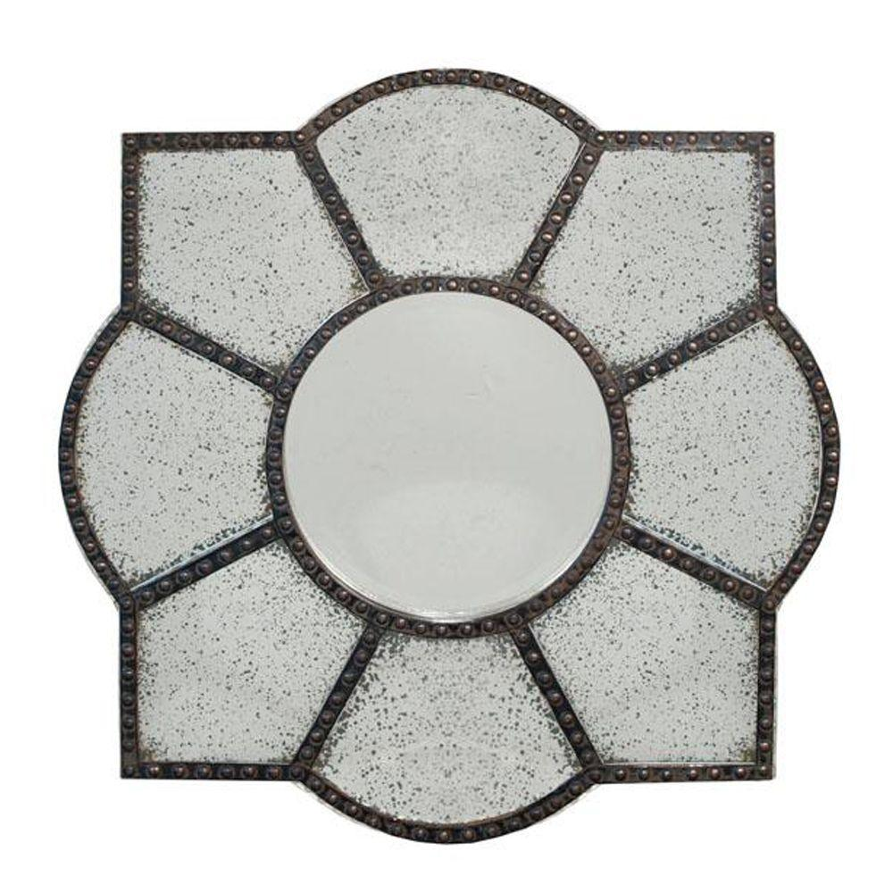 Home Decorators Collection 36 in. H x 36 in. W Constance Rust Framed Wall Mirror