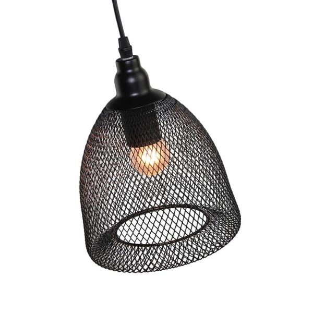 Lnc 1 Light Black Wire Mesh Pendant
