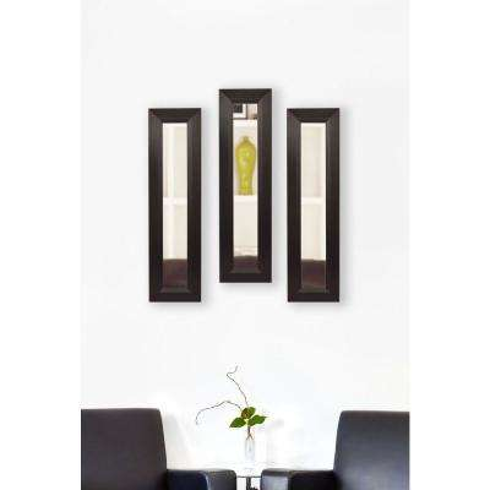 11.75 in. x 39.75 in. Dark Walnut Vanity Mirror (Set of 3-Panels)
